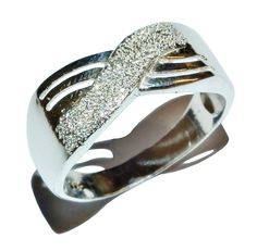 Stamped 925 Sterling Silver Fancy Textured Cross-Over Ring - UK Size: N 1/2