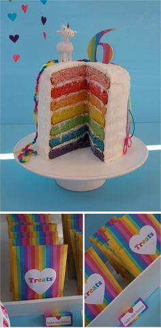 Stacked rainbow cake and treat bags