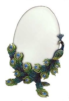 Well Jeweled Peacock Standing Mirror