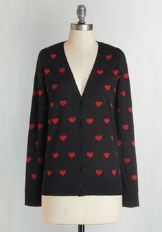 Nothing But Love Cardigan. You have only admiration for the ruby-red heart print of this noir cardigan! #black #modcloth