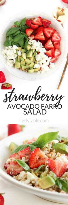 This Strawberry Avocado Farro Salad is a delicious, wholesome dish that uses the best of summer strawberries in a satisfying, vegetarian lunch or a fresh, whole grain side dish! (vegetarian, vegan option) | sponsored by @castrawberries #8ADay | via livelytable.com
