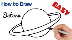 saturn planet drawing draw easy step drawings super planets beginners solar system tutorial steps paintingvalley