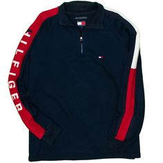 623efadb Tommy Hilfiger 1/4 Zip Men's Sweatshirt Large Vintage Spell Out Flag 1990's    Clothing