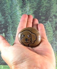 Miniature Dog. Hand Painted Rock dog . Rock Stone. by qvistdesign, $10.00