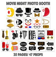 PRINTABLE Movie Night Photo Booth Props–Hollywood Photo Props-Awards Photo Props-Cinema Photo Booth-Hollywood Party Props-Hollywood Photo Booth Sign-Movie Night Sign