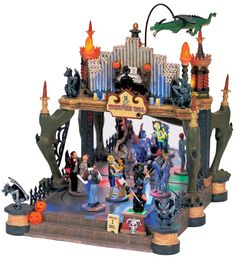 Lemax Spooky Town, Lemax Spooky Town and Sounds - American Sale Halloween Shadow Box, Halloween Wishes, Halloween Queen, Halloween Village, Halloween Displays, Halloween House, Halloween Decorations, Fall Decorations, Halloween Stuff
