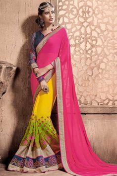 Pink Georgette Saree With Dupion Blouse - DMV9352