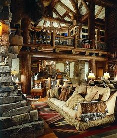 Great room of rustic cabin, cottage or lodge. Also called a family room, living room or cabin interior.