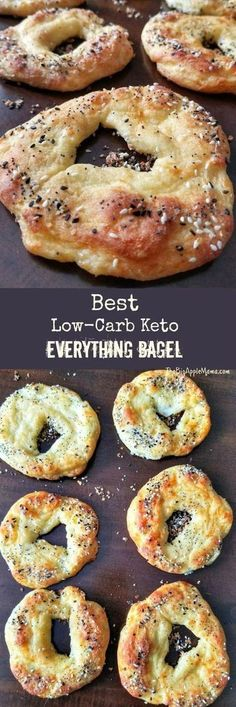 The Best Keto Low Carb Bagels with Everything Seasoning - keto bagels - gluten-free bagels - gluten-free bagel recipes - keto breakfast recipes -low carb recipes - keto bagel recipes - low-carb everything bagels - keto everything bagels - Keto Bagels, Low Carb Bagels, Keto Bread, Low Carb Diet, Low Carb Food, Healthy Food, Gluten Free Bagels, Healthy Carbs, Dinner Healthy