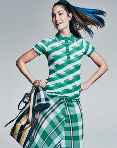Crossing the Lines - This refreshing combination of polo plus plaid is the ultimate preppy mix for the finals at the Miami Open tennis tourney in Key Biscayne. Stella McCartney striped wicker bag ($1,750), check knit bag, polo shirt ($675), and skirt ($1,595); Stella McCartney, NYC.