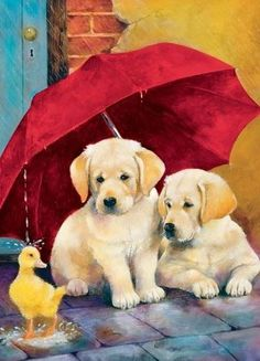 Springbok Children's Jigsaw Puzzles - Everything's Ducky - 60 Piece Jigsaw Puzzle - Large Inches by Inches Puzzle - Made in USA - Extra Large Easy Grip Pieces Lab Puppies, Cute Puppies, Cute Dogs, Animals And Pets, Baby Animals, Cute Animals, Animal Paintings, Dog Art, Labrador Retriever