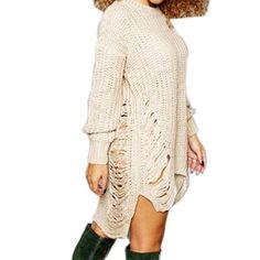 Ripped Out Knitted Asymmetrical Sweater Dress