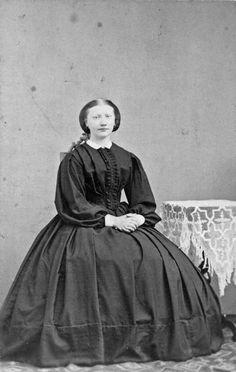 Hulda Sjögren, lady's maid on the manor Stäholm: Sweden, early 1860's. Köpings Museum, nr. KM-00082-7966