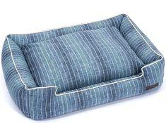Blue Ombre Pinstripe Luxury Pet Bed | Nautical Luxuries Coastal Colors, Coastal Style, Coastal Decor, Nautical Bath, Nautical Gifts, Luxury Pet Beds, Small Lounge, Coastal Bedding, Bed Back