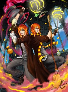 Weasley Magic Party by Alexlapiz on DeviantArt Harry Potter Artwork, Harry Potter Love, Phoenix Feather, Welcome To Hogwarts, Magic Party, Desenhos Harry Potter, Slytherin House, Weasley Twins, Mischief Managed