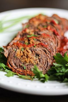 An easy to prepare recipe for Braciole with parmesan, provolone, breadcrumbs, garlic, and parsley. This recipe takes just 20 minutes to active prep time! Meat Recipes, Dinner Recipes, Cooking Recipes, Healthy Recipes, Italian Dishes, Italian Recipes, Italian Foods, Italian Pastries, Kitchen