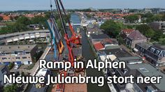 Two construction cranes and a part of a bridge fell down on multiple buildings in Alpen aan den Rijn, the Netherlands. At least 20 people are injured.