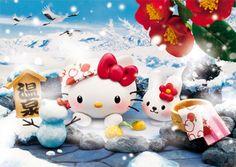 Hello Kitty Hot Spring in the Snow 3D Lenticular Greeting Card / 3D Postcard #Sanrio #JapanHotSpring #Birthday