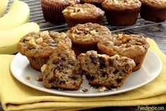 Super easy recipe for paleo and gluten free banana nut muffins with dark, mini-chocolate chips inside. Light and fluffy with a sweet banana flavor – it's hard to believe this is the healthy version!