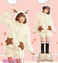 Cute Womens Lolita Fleece Winter Coat Reindeer Horn Hat Fur Warm Outwear Beige #Unbranded #BasicCoat #Casual