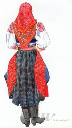 Copyright © ÚĽUV - V. Folk Costume, Costumes, Folk Art, Bride, Illustrations, Paint, Places, Women, Fashion