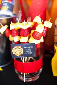 Fire Fruit Sticks + Fruit Kabobs from a Fireman Birthday Party via Kara'.Flaming Fire Fruit Sticks + Fruit Kabobs from a Fireman Birthday Party via Kara'. Fireman Party, Firefighter Birthday, Fireman Sam, Firefighter Games, Firefighter Quotes, Volunteer Firefighter, Party Food Labels, Party Favors, Party Kit