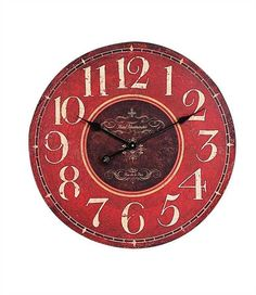 """23-1/4"""" Round MDF Wall Clock, Red"""