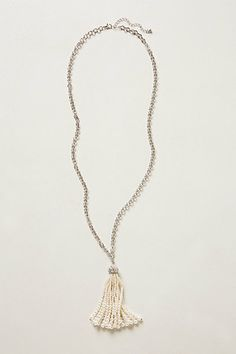 Ivory Pearl Marceline Tassel Necklace #anthropologie