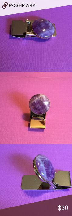 "Amethyst Stainless Steel Money Clip A-2-63 1"" Natural Amethyst Cabochon set in a brass bezel.  The money clip is stainless steel polished to a high gloss.  A wonderful gift. Handmade by HM Simon Accessories Money Clips"