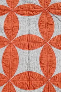 hand-stitched vintage cotton quilt, circle star quilt in orange & white, Laurel Leaf Farm
