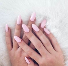 baby pink simple nail art | acrylic | almond | gel polish