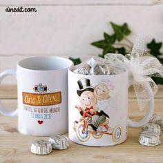 original taza de cermica pitupita con triciclo con opcin a con vuestros nombres y la fecha de vuestra boda una idea divertida y original