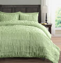 Ruched Bedding 3-Piece Comforter Set, Pinch Pleat Bed Cover | Color: Mint