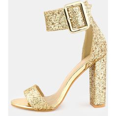 SheIn(sheinside) Glitter Ankle Strap Chunky Heels GOLD ($46) ❤ liked on Polyvore featuring shoes, sparkly shoes, golden shoes, thick heel shoes, gold peep toe shoes and party shoes