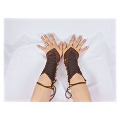 Woodland Elf Costume, Elf Cosplay, Gauntlets, Faux Leather Arm Cuffs... ❤ liked on Polyvore featuring costumes, elf halloween costume, renaissance halloween costume, cosplay costumes, role play costumes and christmas elf costume