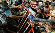 Nearly a 1000 sympathizers protesting in front of the Appeals Court of Phnom Penh supporting two arrested female land activists, Tim Sakmony and Yorm Bopha. The crowds efforts were in vain as the court denied the women bail.