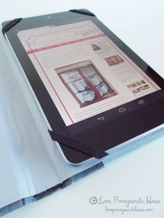 Tablet Book Cover, how to make a tablet cover out of a hard cover book binding! Thank you Amy for the link!