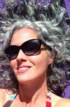 Curly gray hair