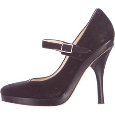 Pre-owned Jimmy Choo Suede Mary Jane Pump ($95) ❤ liked on Polyvore featuring shoes, pumps, black, black suede pumps, black mary jane shoes, round toe mary jane pumps, suede pumps and black shoes