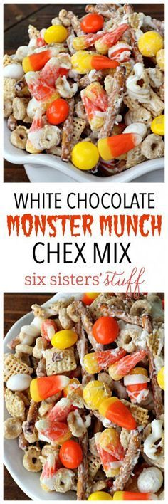 Chocolate Monster Munch Chex Mix White Chocolate Monster Munch Chex Mix on - this stuff is perfect for parties!White Chocolate Monster Munch Chex Mix on - this stuff is perfect for parties! Fall Snacks, Holiday Snacks, Halloween Snacks, Party Snacks, Fall Treats, Halloween Party, Spooky Treats, Halloween Baking, Holiday Appetizers