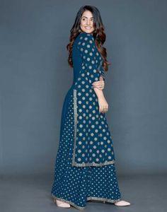Pakistani Salwar Kameez Set Designer Kurti Palazzo Readymade | Etsy Bollywood Style Dress, Candle Wall Decor, Ethnic Kurti, Pakistani Salwar Kameez, Printed Kurti, Gold Print, Cool Designs, Model, Prints