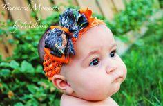 Hunters Orange MOSSY OAK Break Up Camo Bow Headband. $11.00, via Etsy.
