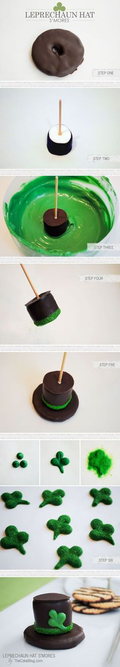 Leprechaun Hat S\'mores for St. Patrick\'s Day   by Carrie Sellman for TheCakeBlog.com