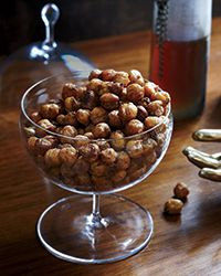 These roasted chickpeas are tossed with cumin, coriander and chile powder. They're perfect for snacking.