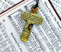 Hymn Art Necklace Cross necklace Christian Jewelry by GospelHymns