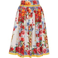 Dolce & Gabbana Floral-print silk-twill midi skirt ($1,465) ❤ liked on Polyvore featuring skirts, button skirt, floral midi skirts, ruched midi skirt, mid-calf skirts and flared midi skirt