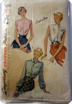 SImplicity 3092 Women Blouse 1950s Vintage Sewing by Denisecraft, $7.99