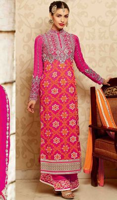 USD 87.35 Pink Georgette Pakistani Style Suit 48067