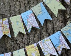 atlas flag garland, map flag garland, going away party garland . Flag Garland, Party Garland, Map Crafts, Diy And Crafts, Going Away Parties, Pre Wedding Party, Disney Home Decor, Travel Party, Map Art