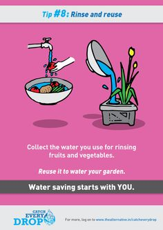 Water Saving Tips. For more tips and water saving products visit Save Water Pictures, Save Water Poster Drawing, Water Saving Tips, Ways To Save Water, Water Scarcity, Save Environment, Water Challenge, Water Management, Water Wise